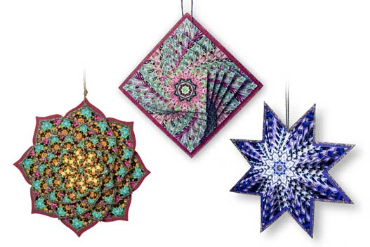 These 3D ornaments were printed on glossy photo paper.