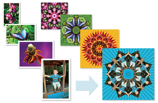 Turn ordinary photos into amazing kaleidoscope designs with our fun and easy-to-use Kaleidoscope Kreator 3 software